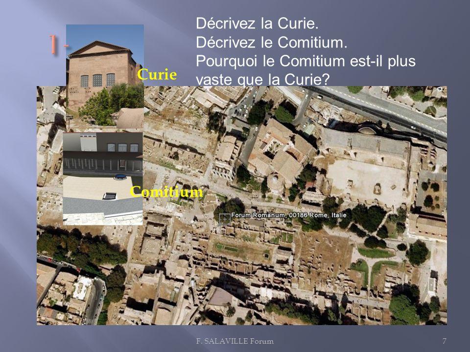 7 Curie Comitium Décrivez la Curie. Décrivez le Comitium. Pourquoi le Comitium est-il plus vaste que la Curie?
