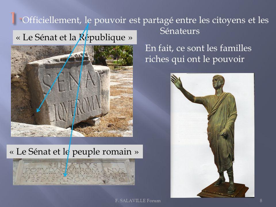 8F. SALAVILLE Forum « Le Sénat et la République » « Le Sénat et le peuple romain » Officiellement, le pouvoir est partagé entre les citoyens et les Sé