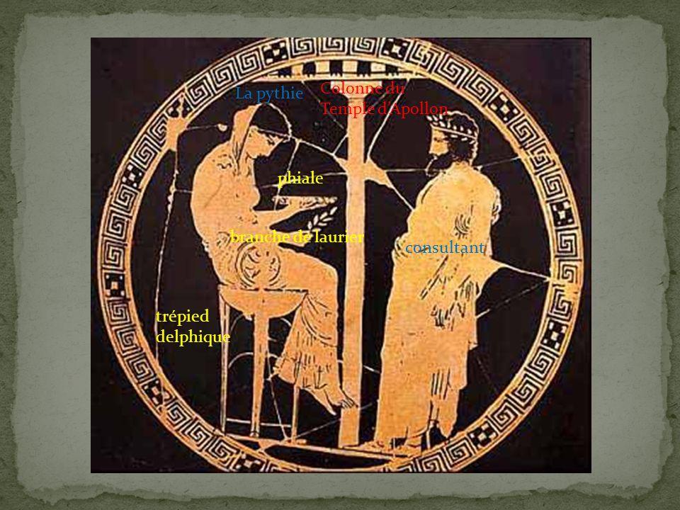 La pythie phiale branche de laurier trépied delphique consultant Colonne du Temple dApollon