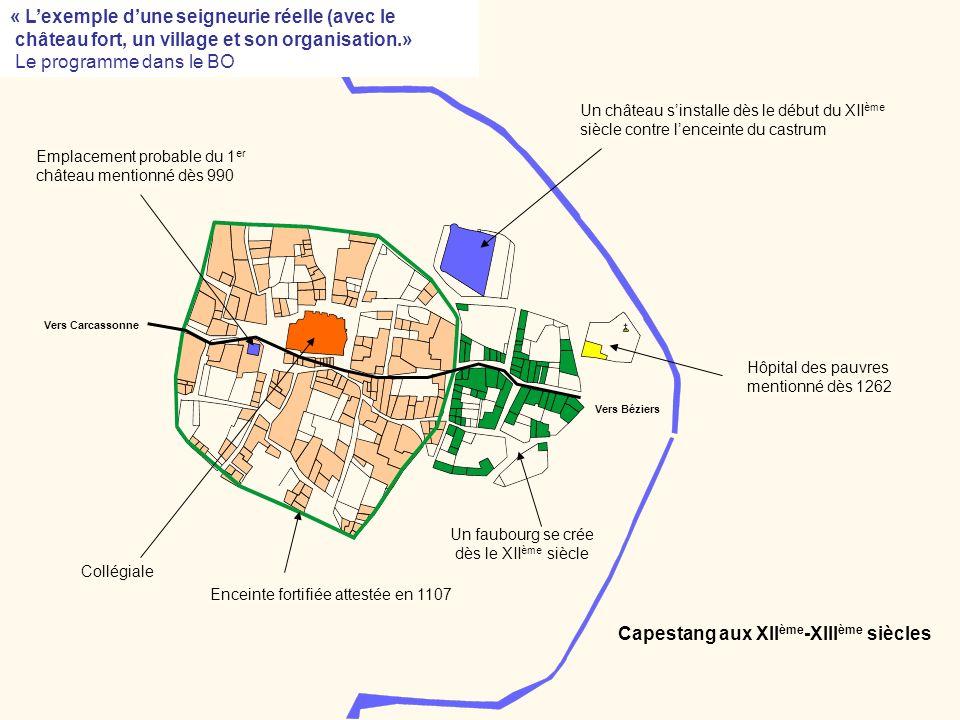 « Lexemple dune seigneurie réelle (avec le château fort, un village et son organisation.» Le programme dans le BO Vers Béziers Un faubourg se crée dès