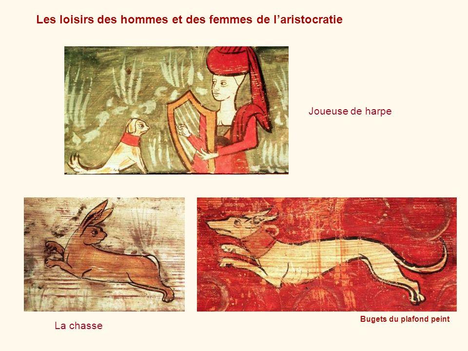 Les loisirs des hommes et des femmes de laristocratie Bugets du plafond peint Joueuse de harpe La chasse