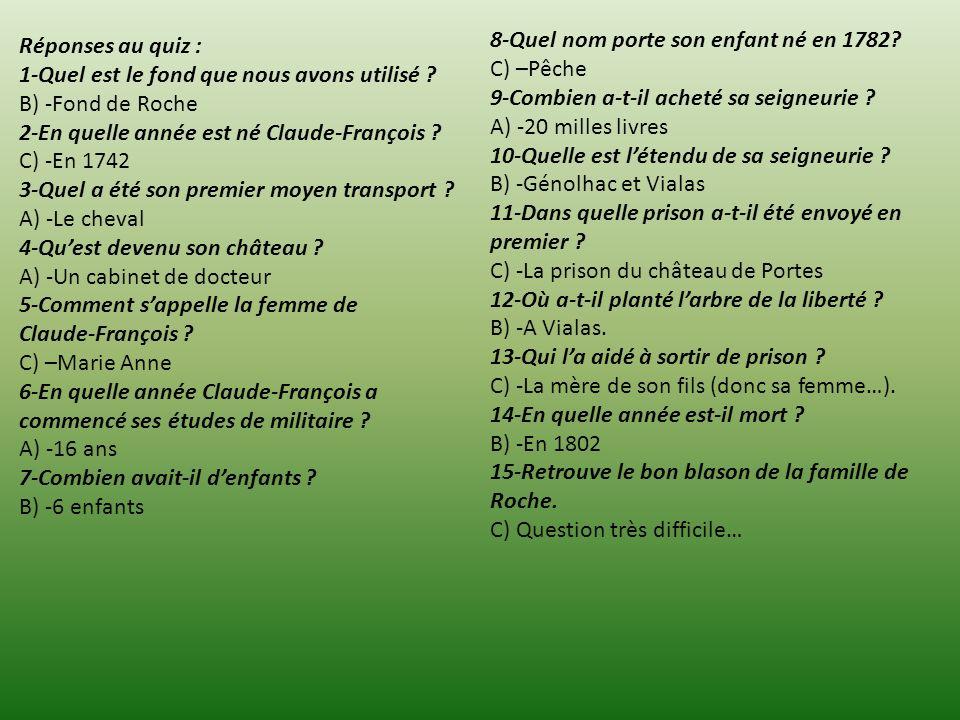 Réponses au quiz : 1-Quel est le fond que nous avons utilisé ? B) -Fond de Roche 2-En quelle année est né Claude-François ? C) -En 1742 3-Quel a été s