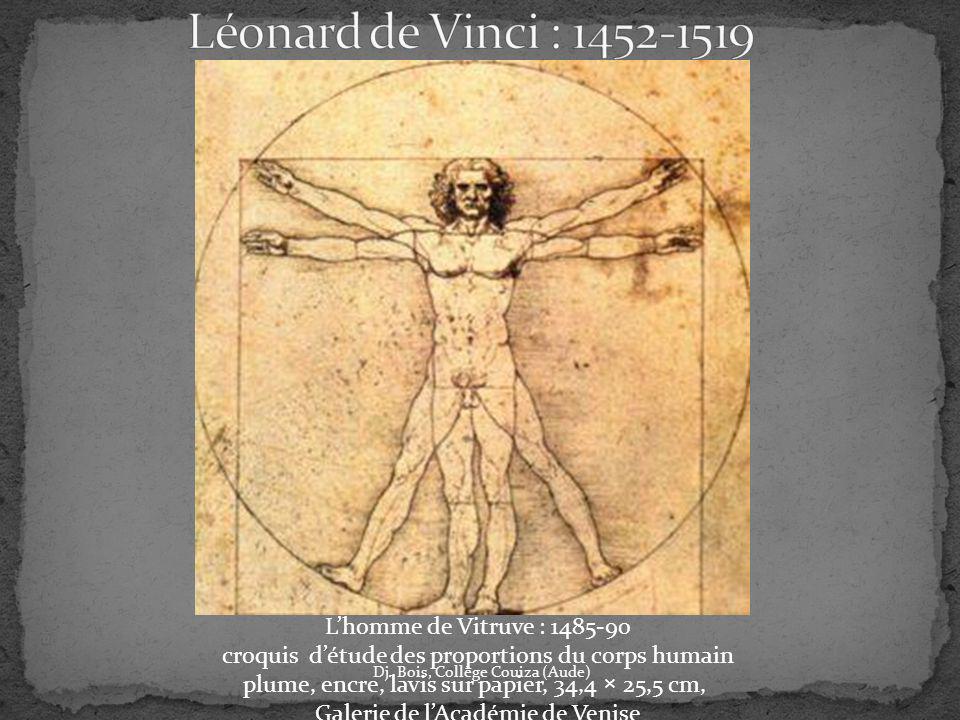 Dj. Bois, Collège Couiza (Aude) Lhomme de Vitruve : 1485-90 croquis détude des proportions du corps humain plume, encre, lavis sur papier, 34,4 × 25,5