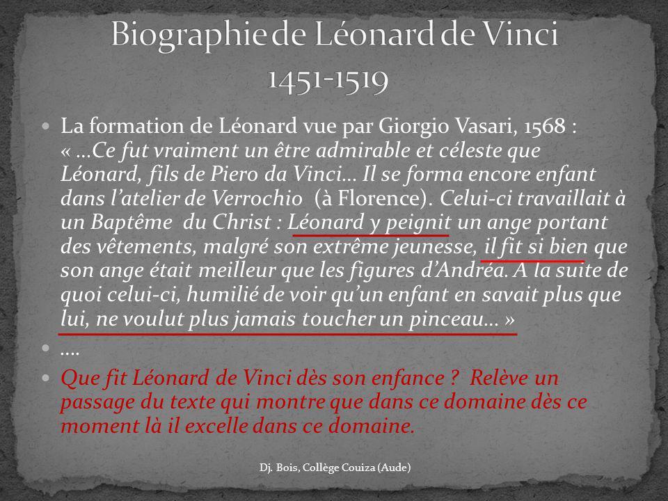 La formation de Léonard vue par Giorgio Vasari, 1568 : « …Ce fut vraiment un être admirable et céleste que Léonard, fils de Piero da Vinci… Il se form