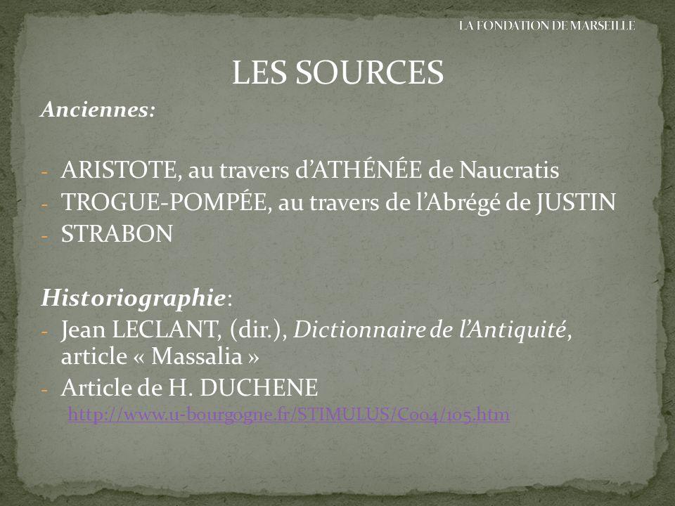 LES SOURCES Anciennes: - ARISTOTE, au travers dATHÉNÉE de Naucratis - TROGUE-POMPÉE, au travers de lAbrégé de JUSTIN - STRABON Historiographie: - Jean