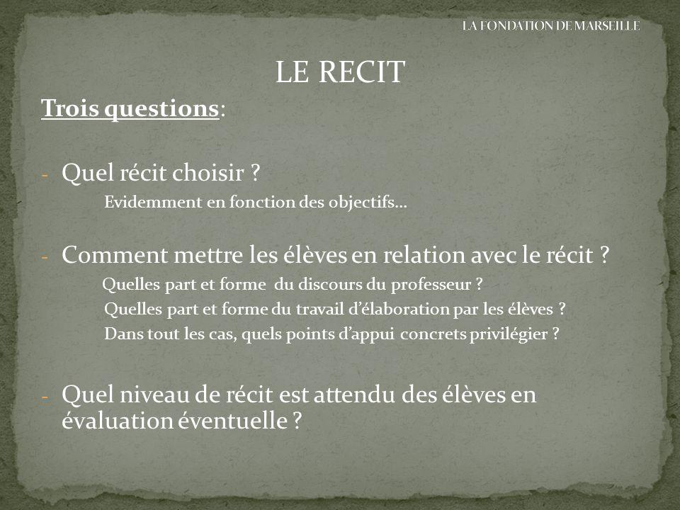 Trois questions: - Quel récit choisir ? Evidemment en fonction des objectifs… - Comment mettre les élèves en relation avec le récit ? Quelles part et