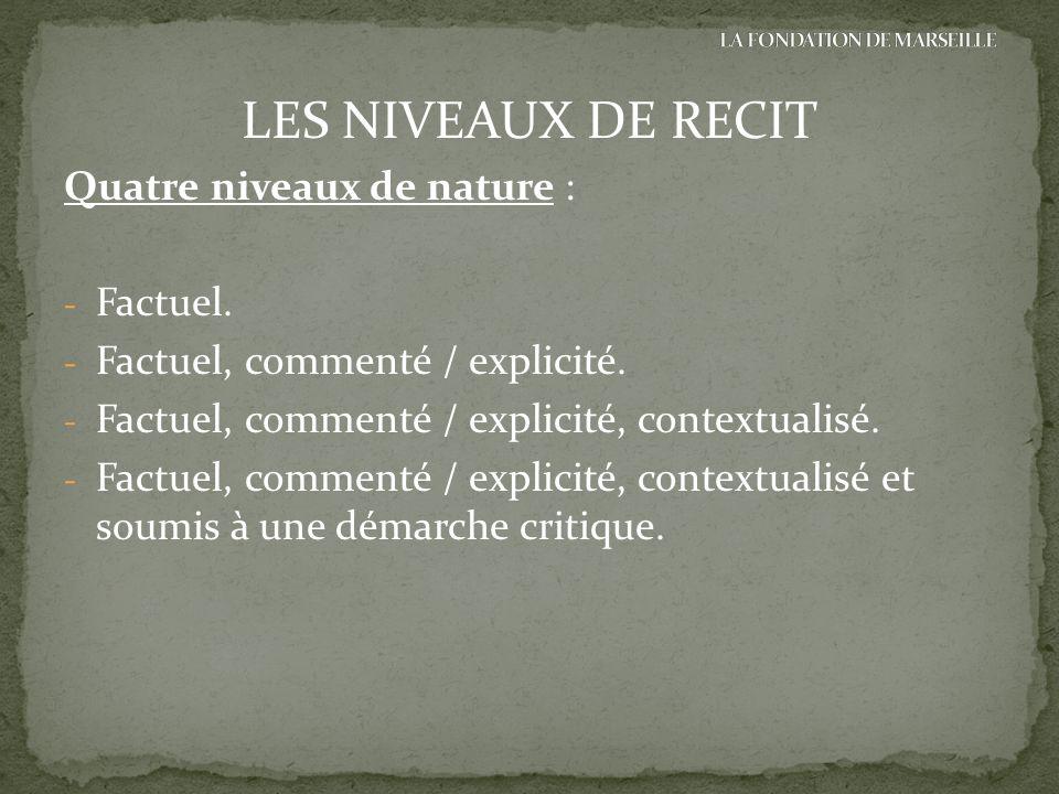 LES NIVEAUX DE RECIT Quatre niveaux de nature : - Factuel. - Factuel, commenté / explicité. - Factuel, commenté / explicité, contextualisé. - Factuel,