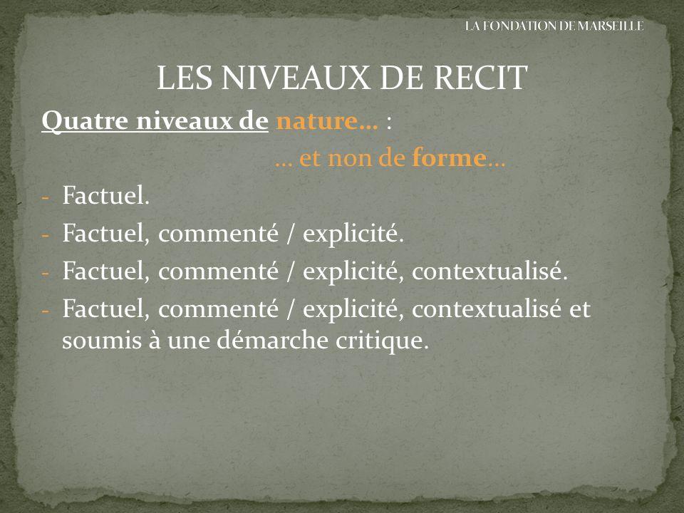LES NIVEAUX DE RECIT Quatre niveaux de nature… : … et non de forme… - Factuel. - Factuel, commenté / explicité. - Factuel, commenté / explicité, conte