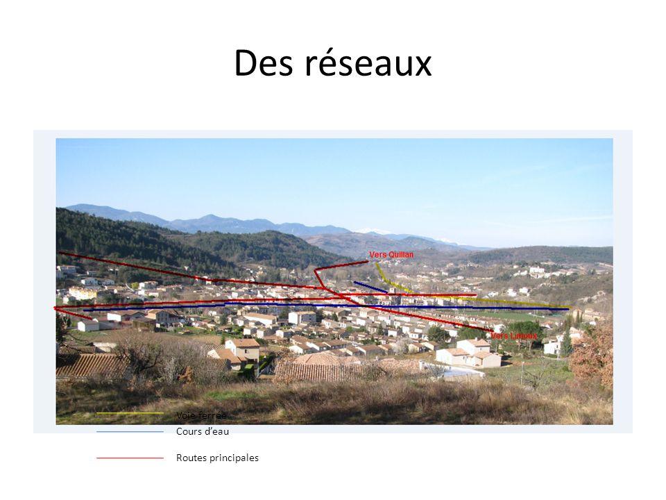 Des réseaux Voie ferrée Cours deau Routes principales