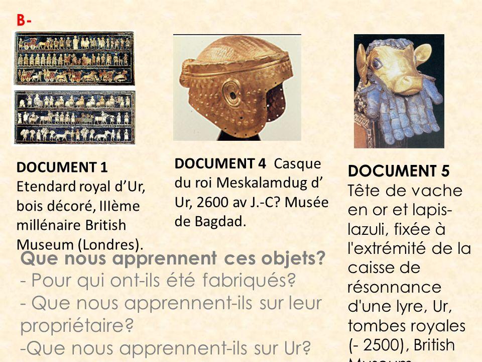 1 DOCUMENT 1 Etendard royal dUr, bois décoré, IIIème millénaire British Museum (Londres). DOCUMENT 4 Casque du roi Meskalamdug d Ur, 2600 av J.-C? Mus