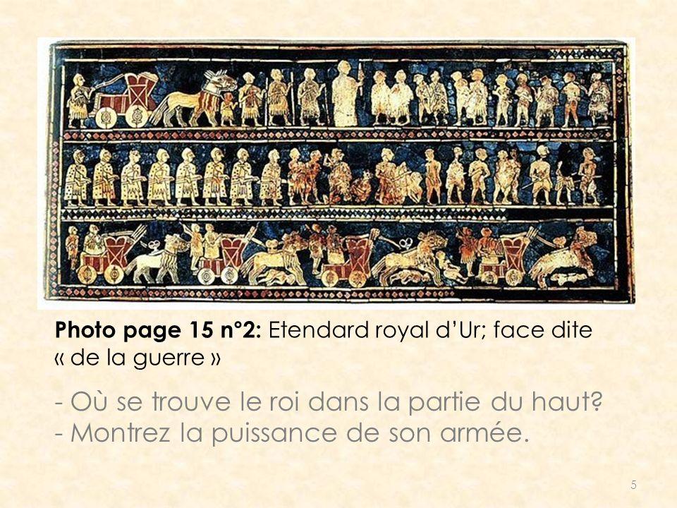 5 Photo page 15 n°2: Etendard royal dUr; face dite « de la guerre » - Où se trouve le roi dans la partie du haut? - Montrez la puissance de son armée.
