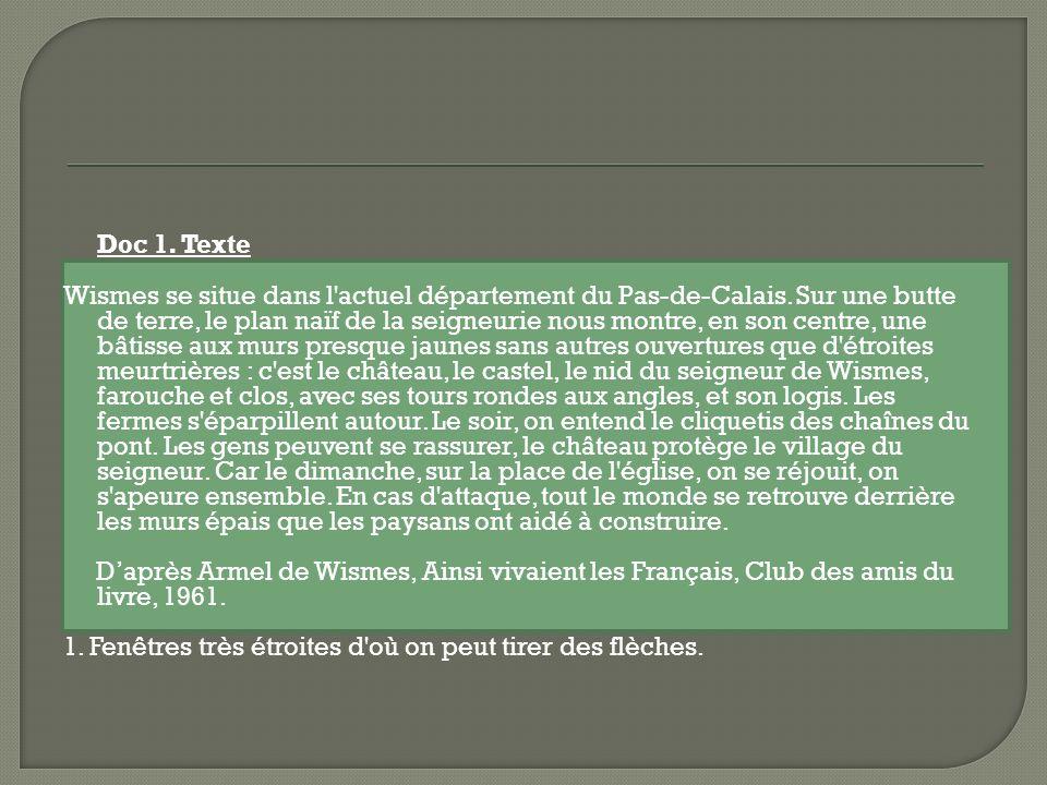 Doc 1. Texte Wismes se situe dans l'actuel département du Pas-de-Calais. Sur une butte de terre, le plan naïf de la seigneurie nous montre, en son cen