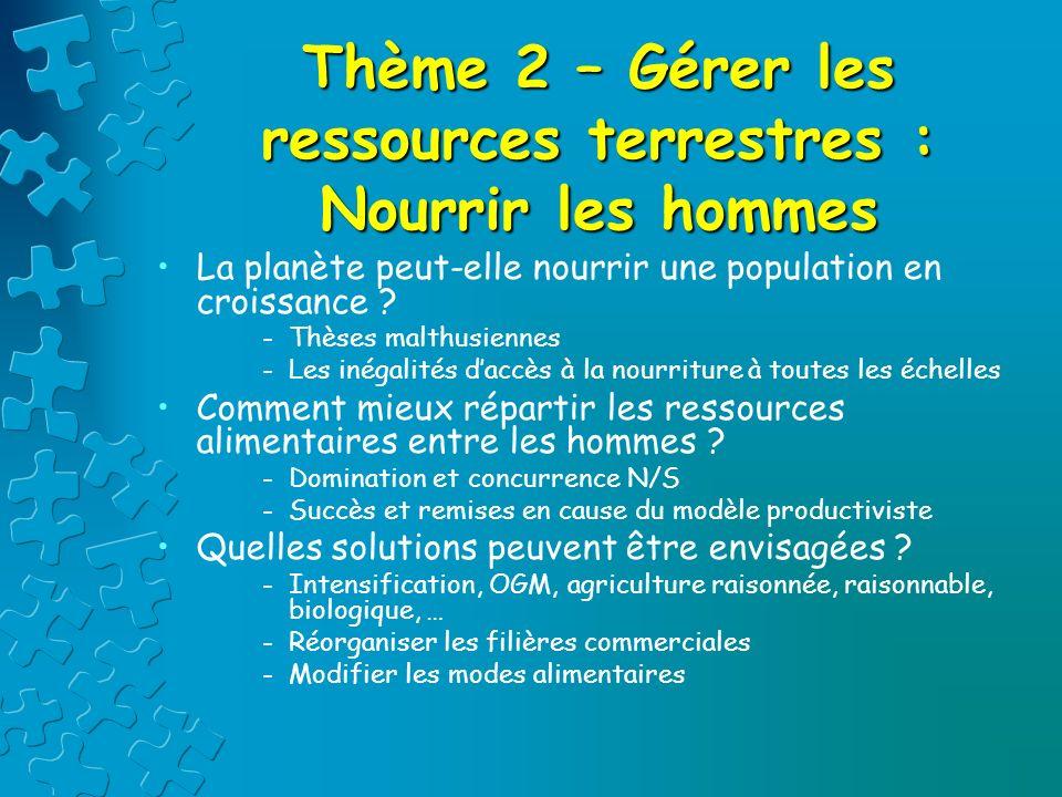 Thème 2 – Gérer les ressources terrestres : Nourrir les hommes La planète peut-elle nourrir une population en croissance ? -Thèses malthusiennes -Les