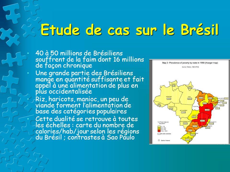 Etude de cas sur le Brésil 40 à 50 millions de Brésiliens souffrent de la faim dont 16 millions de façon chronique Une grande partie des Brésiliens ma
