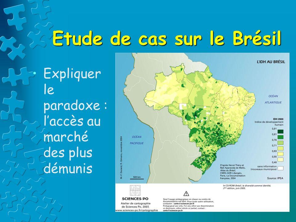 Etude de cas sur le Brésil Expliquer le paradoxe : laccès au marché des plus démunis