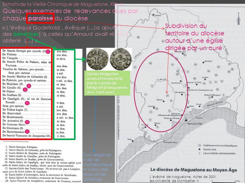 Extraits de la Vieille Chronique de Maguelone, XIIe s.: Quelques exemples de redevances dues par chaque paroisse du diocèse Subdivision du territoire