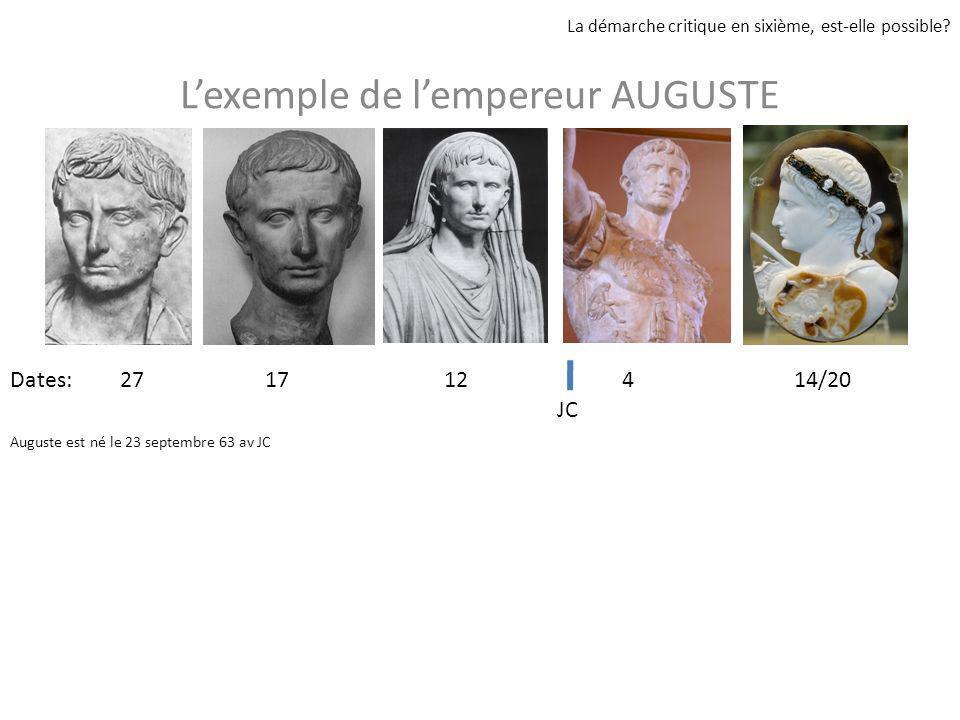 Lexemple de lempereur AUGUSTE La démarche critique en sixième, est-elle possible? 27 17 12 4 14/20 JC Dates: Auguste est né le 23 septembre 63 av JC
