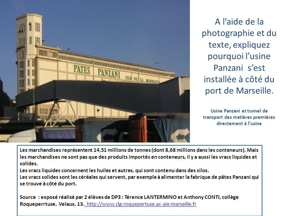 A laide de la photographie et du texte, expliquez pourquoi lusine Panzani sest installée à côté du port de Marseille. Usine Panzani et tunnel de trans