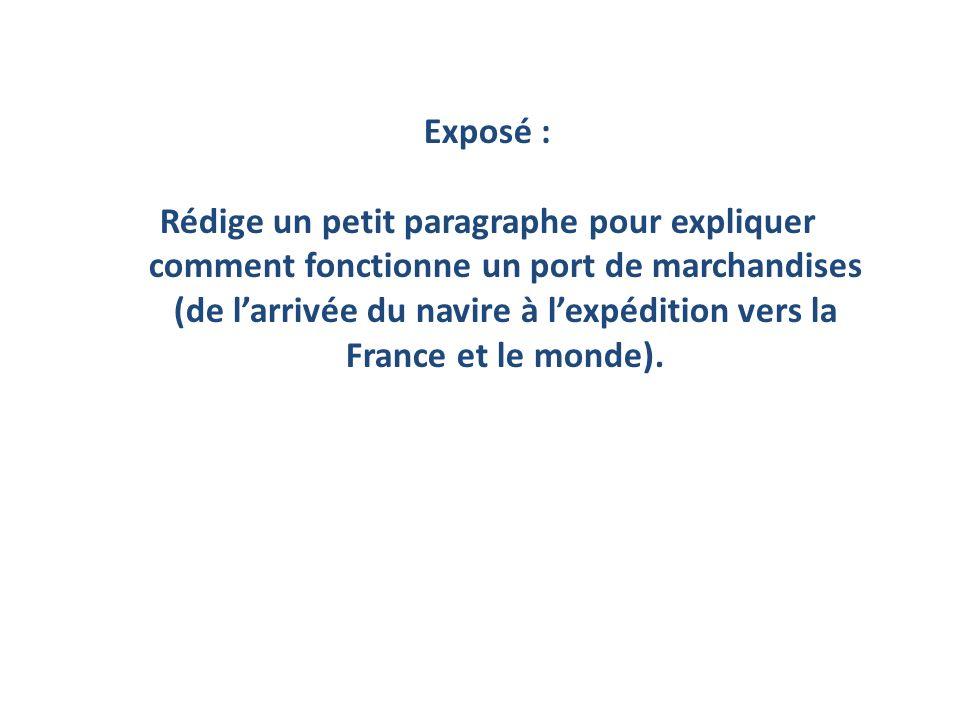 Exposé : Rédige un petit paragraphe pour expliquer comment fonctionne un port de marchandises (de larrivée du navire à lexpédition vers la France et l