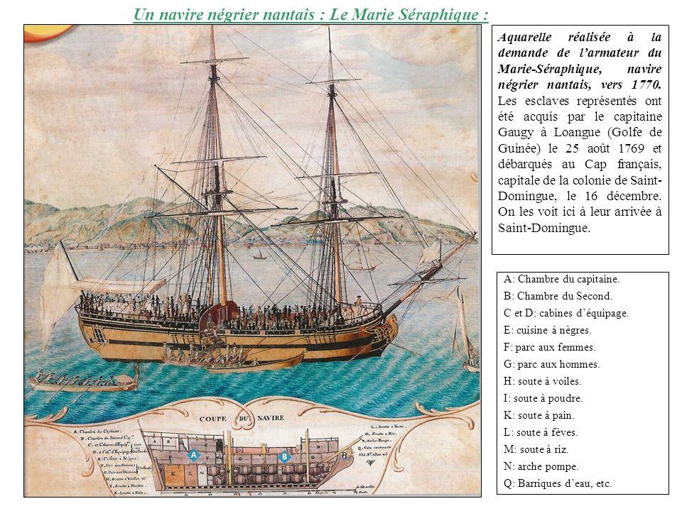 Un navire négrier nantais : Le Marie Séraphique : Aquarelle réalisée à la demande de larmateur du Marie-Séraphique, navire négrier nantais, vers 1770.