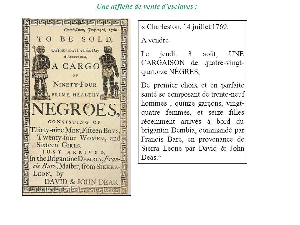 « Charleston, 14 juillet 1769. A vendre Le jeudi, 3 août, UNE CARGAISON de quatre-vingt- quatorze NÈGRES, De premier choix et en parfaite santé se com