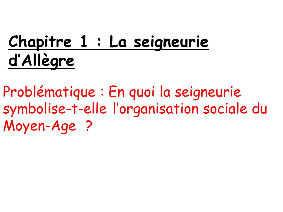 Chapitre 1 : La seigneurie dAllègre Problématique : En quoi la seigneurie symbolise-t-elle lorganisation sociale du Moyen-Age ?