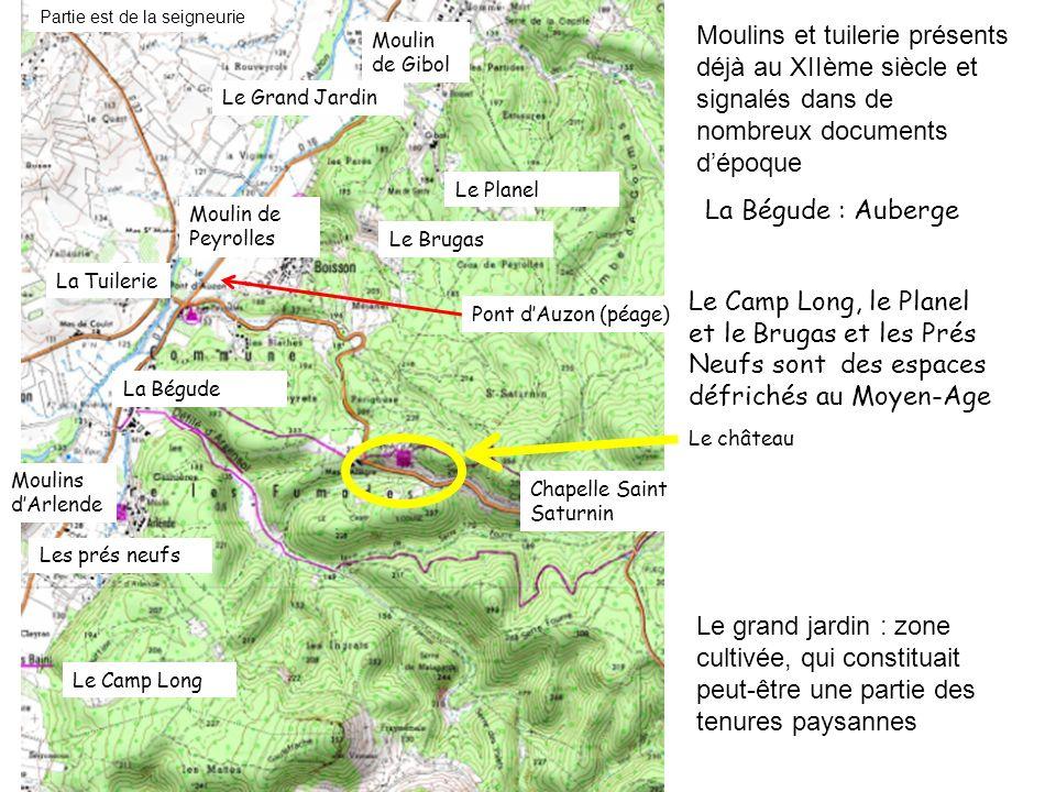 Moulin de Gibol Moulin de Peyrolles Moulins dArlende La Tuilerie Pont dAuzon (péage) Chapelle Saint Saturnin Le château La Bégude La Bégude : Auberge