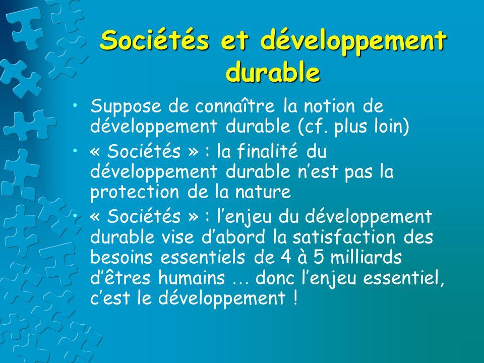Ecologie, environnement, croissance, développement, développement durable : de quoi parle –t-on ?