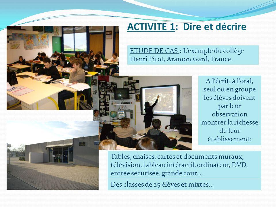 ACTIVITE 1: Dire et décrire A lécrit, à loral, seul ou en groupe les élèves doivent par leur observation montrer la richesse de leur établissement: Ta