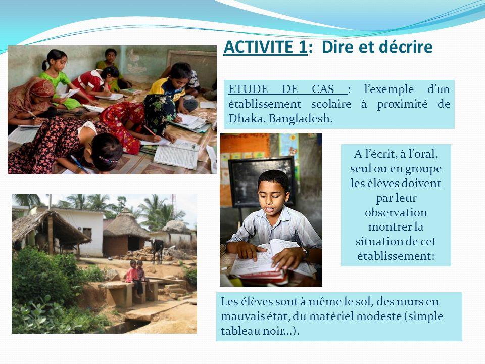 ACTIVITE 1: Dire et décrire A lécrit, à loral, seul ou en groupe les élèves doivent par leur observation montrer la situation de cet établissement: Le