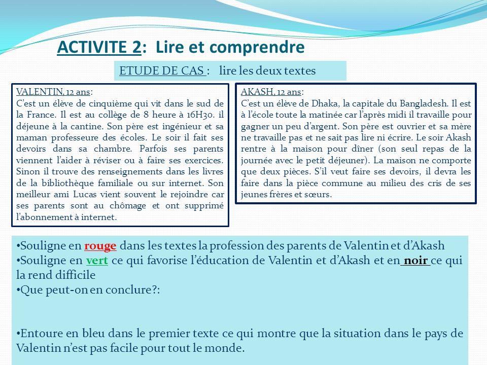 ACTIVITE 2: Lire et comprendre ETUDE DE CAS : lire les deux textes VALENTIN, 12 ans: Cest un élève de cinquième qui vit dans le sud de la France. Il e