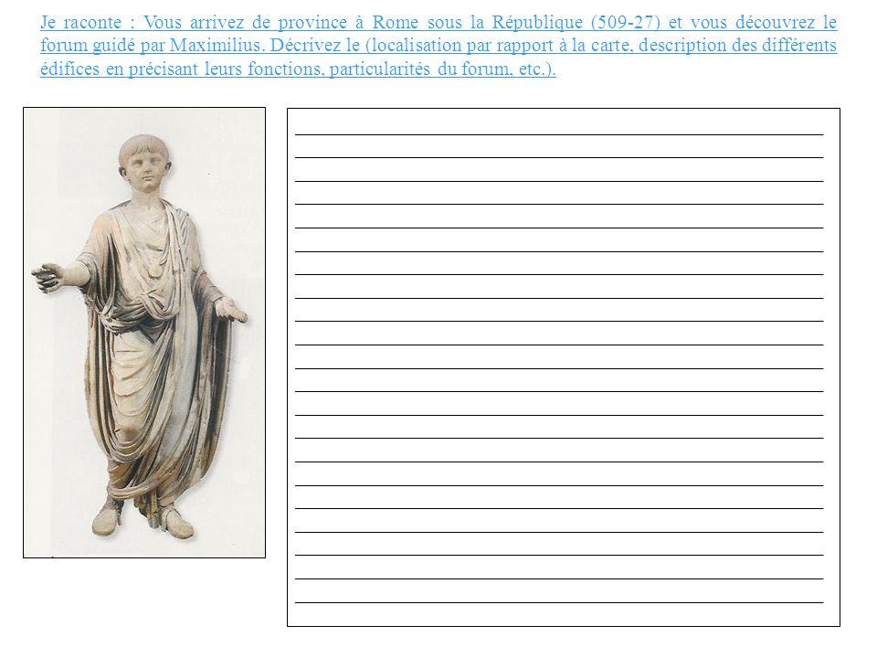 Je raconte : Vous arrivez de province à Rome sous la République (509-27) et vous découvrez le forum guidé par Maximilius. Décrivez le (localisation pa