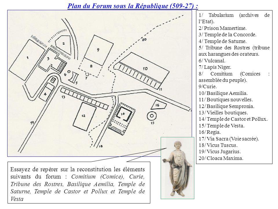 1/ Tabularium (archives de lEtat). 2/ Prison Mamertime. 3/ Temple de la Concorde. 4/ Temple de Saturne. 5/ Tribune des Rostres (tribune aux harangues