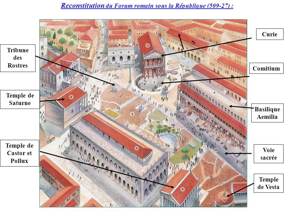 Reconstitution du Forum romain sous la République (509-27) : N Tribune des Rostres Temple de Saturne Temple de Castor et Pollux Curie Comitium Basiliq