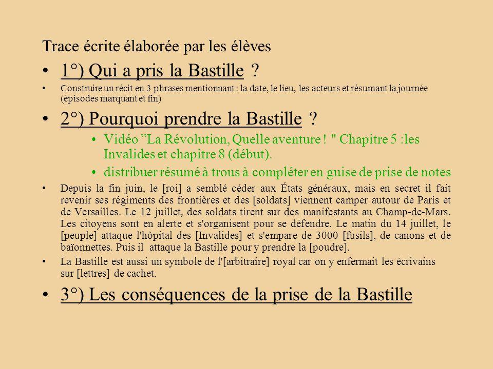 Trace écrite élaborée par les élèves 1°) Qui a pris la Bastille ? Construire un récit en 3 phrases mentionnant : la date, le lieu, les acteurs et résu