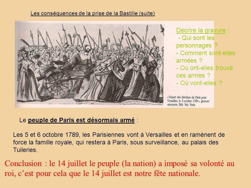 Les conséquences de la prise de la Bastille (suite) Le peuple de Paris est désormais armé : Les 5 et 6 octobre 1789, les Parisiennes vont à Versailles