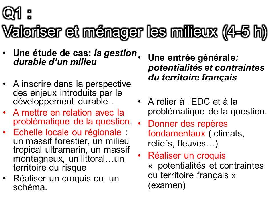 Une étude de cas: la gestion durable dun milieu A inscrire dans la perspective des enjeux introduits par le développement durable.