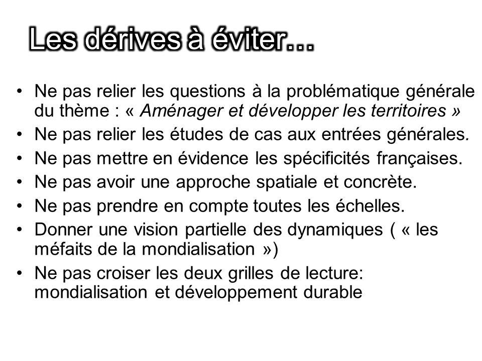 Ne pas relier les questions à la problématique générale du thème : « Aménager et développer les territoires » Ne pas relier les études de cas aux entrées générales.