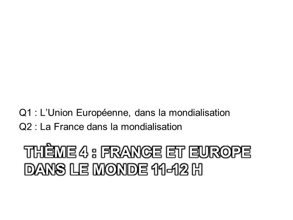 Q1 : LUnion Européenne, dans la mondialisation Q2 : La France dans la mondialisation