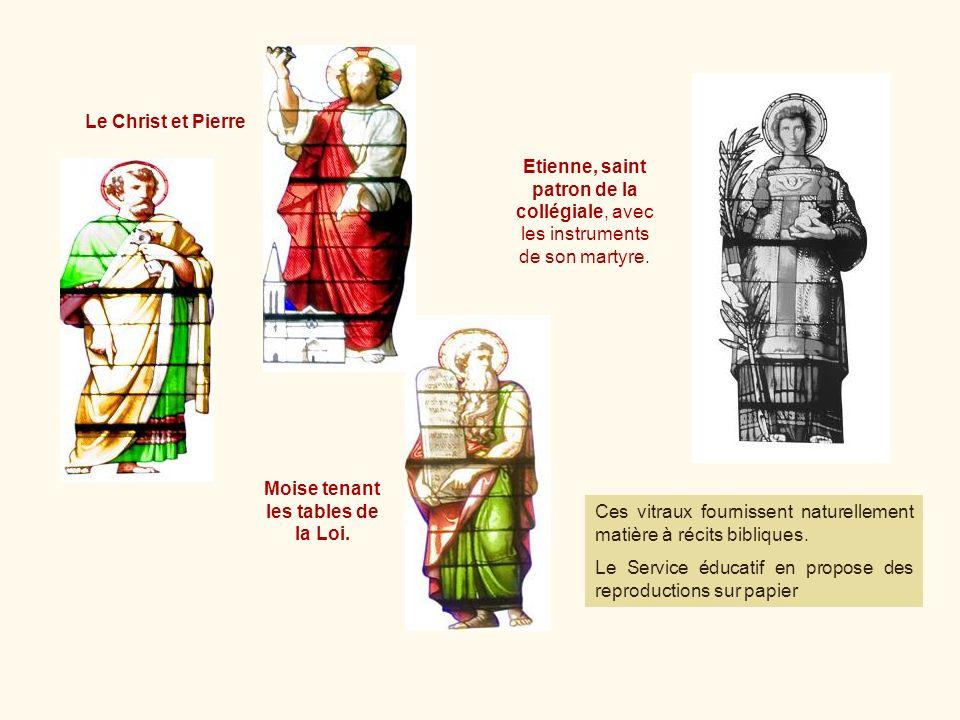 Moise tenant les tables de la Loi. Ces vitraux fournissent naturellement matière à récits bibliques. Le Service éducatif en propose des reproductions