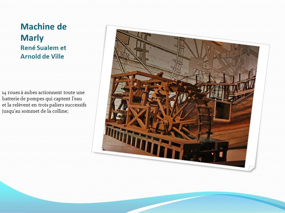 Machine de Marly René Sualem et Arnold de Ville 14 roues à aubes actionnent toute une batterie de pompes qui captent leau et la relèvent en trois pali