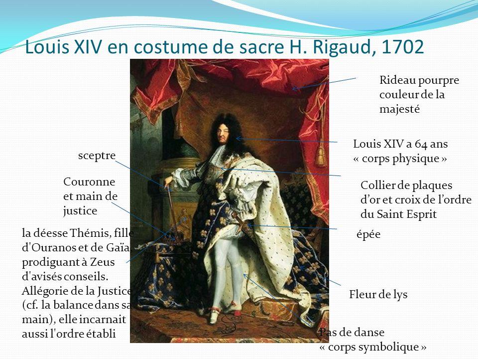 Louis XIV en costume de sacre H. Rigaud, 1702 Rideau pourpre couleur de la majesté Louis XIV a 64 ans « corps physique » Pas de danse « corps symboliq