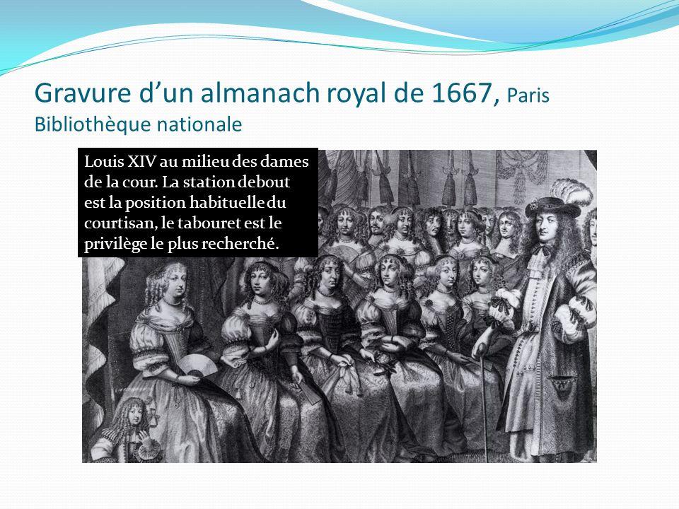 Gravure dun almanach royal de 1667, Paris Bibliothèque nationale Louis XIV au milieu des dames de la cour. La station debout est la position habituell