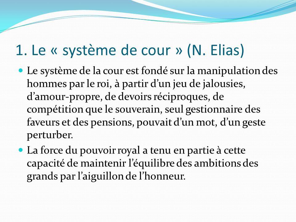 1. Le « système de cour » (N. Elias) Le système de la cour est fondé sur la manipulation des hommes par le roi, à partir dun jeu de jalousies, damour-