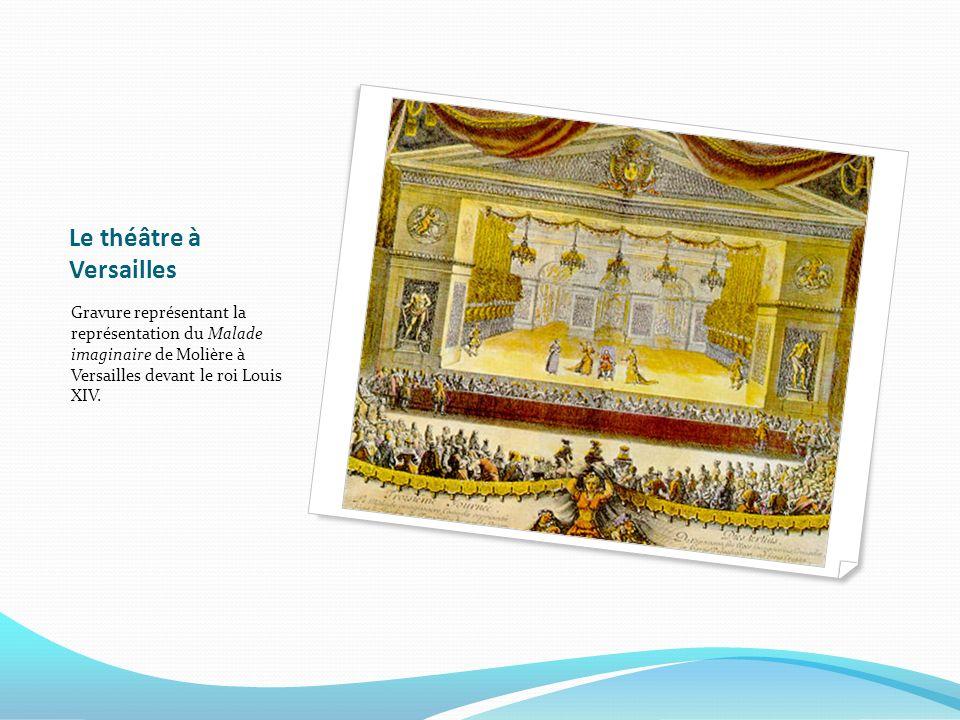 Le théâtre à Versailles Gravure représentant la représentation du Malade imaginaire de Molière à Versailles devant le roi Louis XIV.