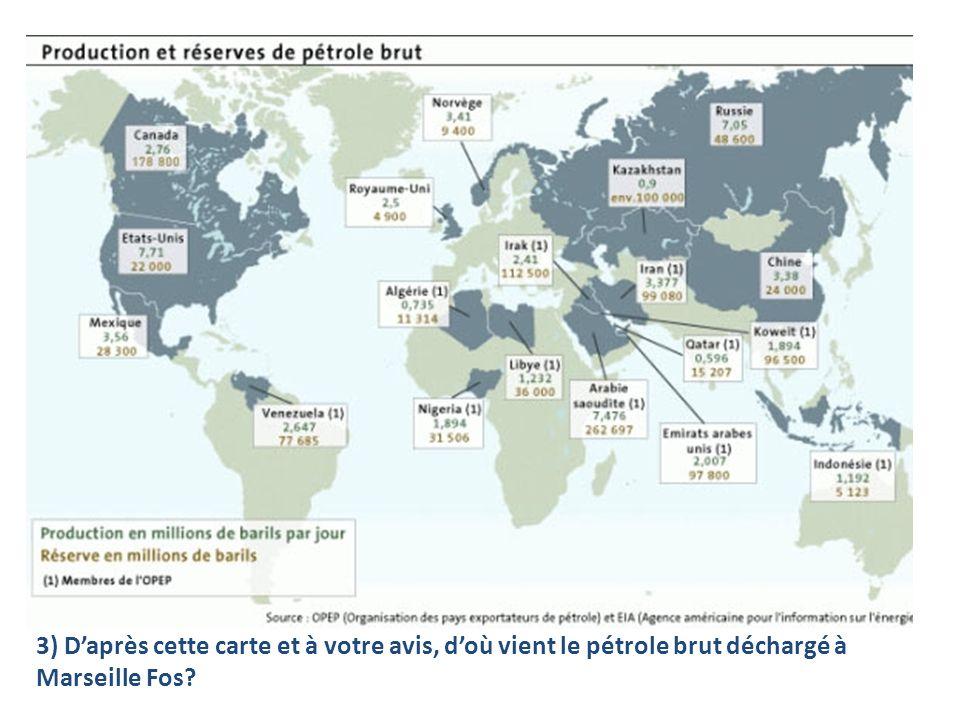 3) Daprès cette carte et à votre avis, doù vient le pétrole brut déchargé à Marseille Fos?