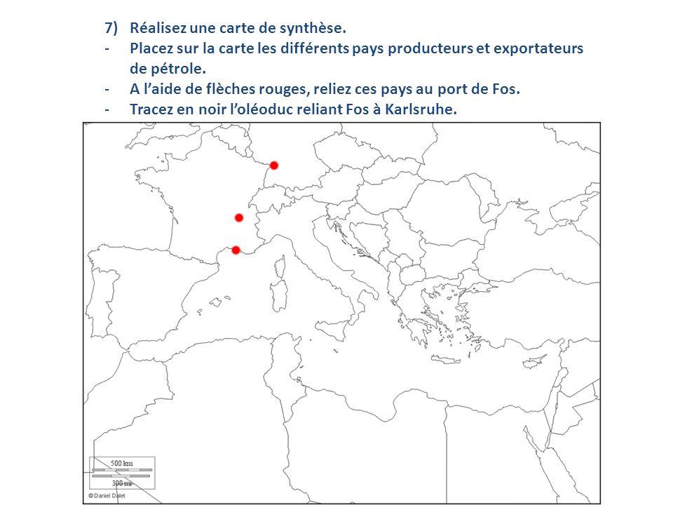 7)Réalisez une carte de synthèse. -Placez sur la carte les différents pays producteurs et exportateurs de pétrole. -A laide de flèches rouges, reliez