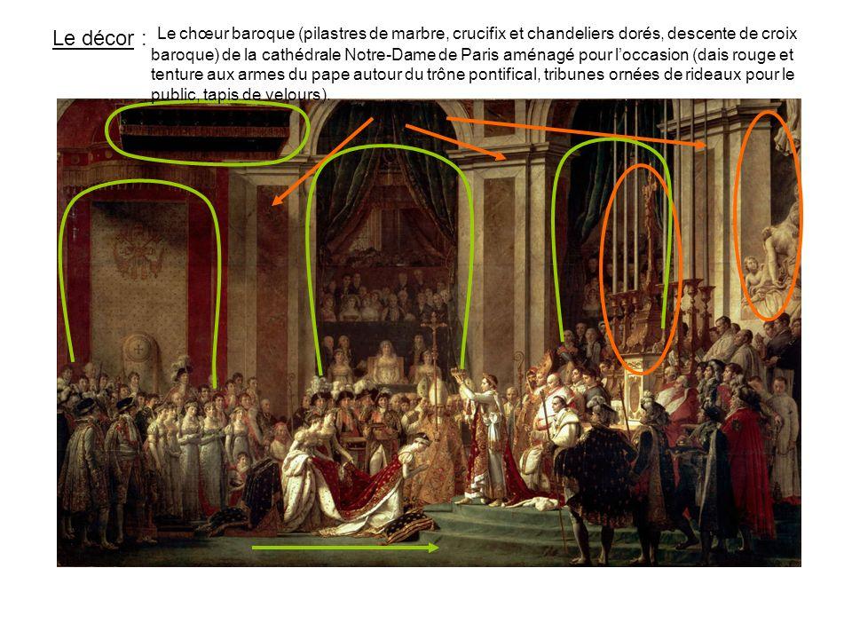 Les personnages: LEglise romaine et française (celle-ci au centre) + un pope ; la famille Bonaparte (Laetitia et Jérôme nétaient pas là) ; les militaires, les dignitaires et les soutiens du régime portant les objets du sacre qui ont servi plus tôt ; les ambassadeurs étrangers, turc notamment ; les artistes et les savants, dont David, sa famille et ses amis.