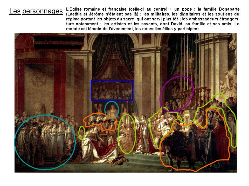 Les personnages: LEglise romaine et française (celle-ci au centre) + un pope ; la famille Bonaparte (Laetitia et Jérôme nétaient pas là) ; les militai