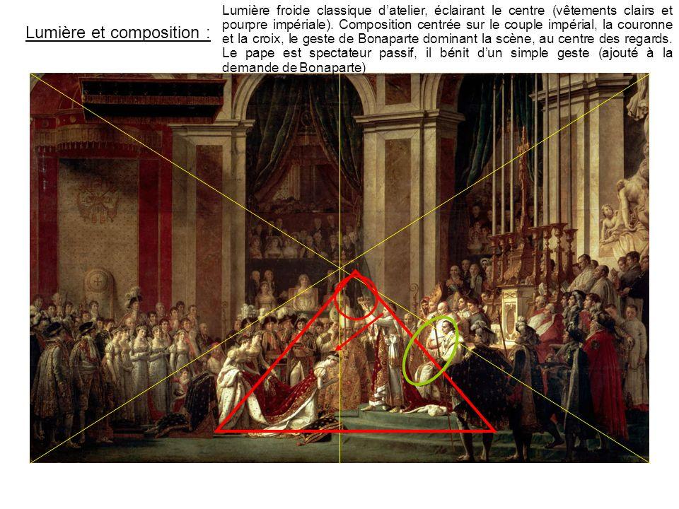 Lumière et composition : Lumière froide classique datelier, éclairant le centre (vêtements clairs et pourpre impériale). Composition centrée sur le co